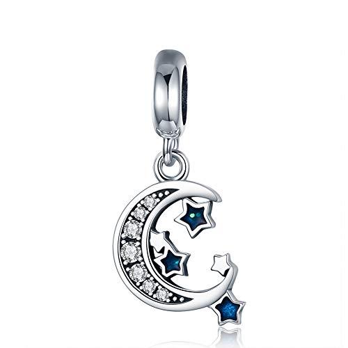 Sterne Mond Charm Bead Anhänger Damen DIY Charms Perlen Schmuck kompatibel European Armband Halskette Geburtstag Weihnachten Valentinstag Thanksgiving Geschenk ()