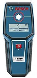 Bosch Professional Metalldetektor GMS 100 M (1x 9V-Batterie,Trageschlaufe, Erfassungstiefe Eisenmetalle: 100 mm, Nichteisenmetalle: 80 mm, IP 54)