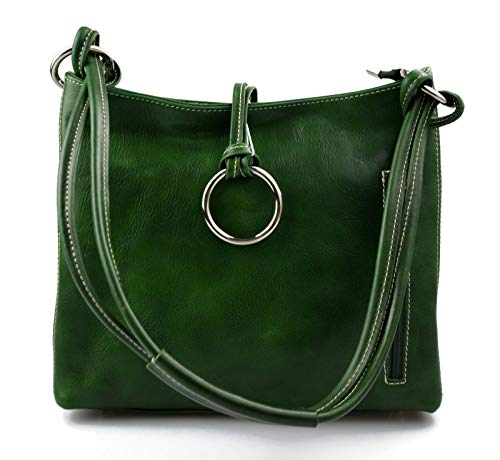 Damen tasche handtasche ledertasche damen ledertasche schultertasche leder tasche henkeltasche made in italy grun