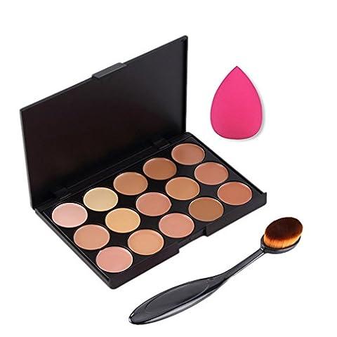 Pure Vie® 1 Stück Oval Make Up Pinsel + 1 Schwamm Puff + 15 Farben Concealer Abdeckcreme Camouflage Palette Cover Abdeck Makeup