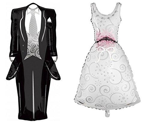 takestop Juego 2Piezas Guirnaldas globos globo novio novia Novios H 110cm cada para Helio Boda Wedding Promessa Fiesta Party boda