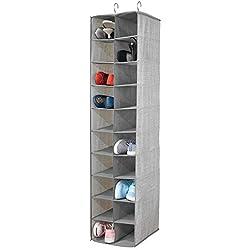 mDesign Zapatero Colgante - Organizador de Zapatos con 20 Compartimentos y Estampado con Textura - Estantería de Tela para Carteras, Bolsos o Zapatos, Ideal para Ahorrar Espacio - Gris