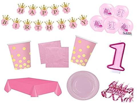 XXL Party Deko Set 1.Geburtstag Kindergeburtstag 54 teilig rosa/gold Mädchen Party Geschirr Party (1 Kindergeburtstag)