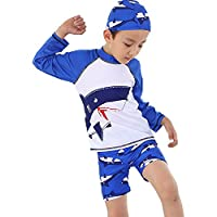 Monvecle Little Boys' 3-Pieces Shark Rash Guard Swimsuits UPF 50+ Sun Protection Swim Set Navy 7-8Y