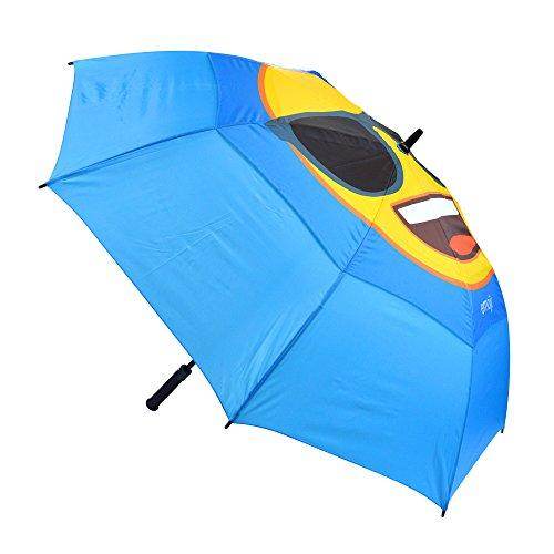 Emoji-Winddicht Cool Sonnenbrille Face Double Canopy Umbrella, Blau, 62-inch