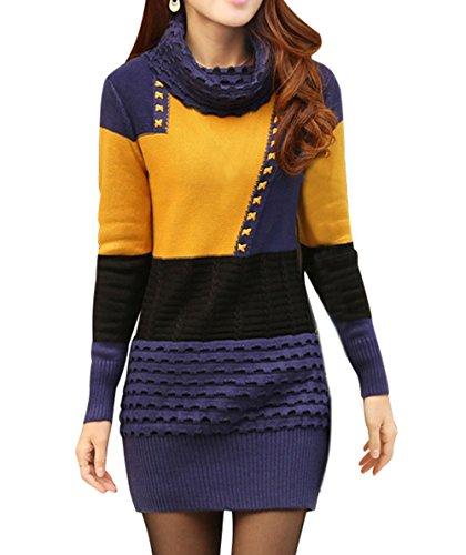 Cheerlife Damen Warm Strickkleid Minikleid Sweatkleid Langarm Rollkragen Pullover Tops Herbst Winter Einheitsgröße Blau-Gelb