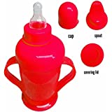 KP My Baby Cute Stylish 2 IN One Baby Feeding Bpa Spill Proof Free Unbreakable Baby Infant Pp Water/Juice/ Milk Training Gravity Sipper Cup With Handles & Dust Free Cover Lid For KIds ( Colours May Vary)