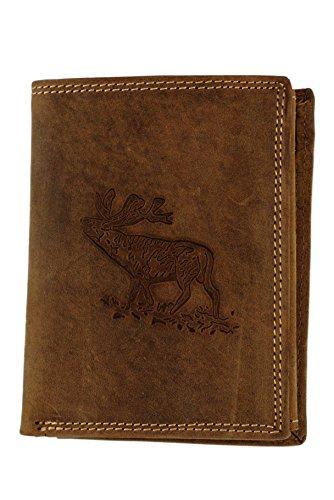 Ante Monedero marrón con relieve ciervo, verticales, la cartera para los Cazadores y natural amantes