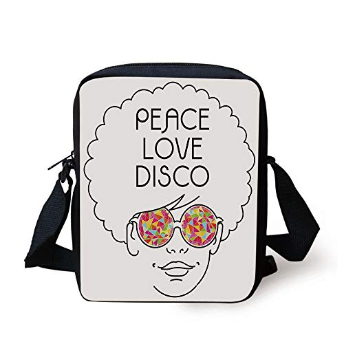 CBBBB 70s Party Decorations,Drawing of a Girl with Afro Hair and Kaleidoscopic Glasses Hippie Decorative,Multicolor Print Kids Crossbody Messenger Bag Purse