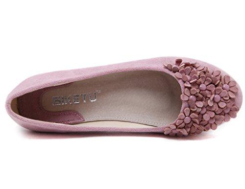 Fortuning's JDS chaussures à semelle souple / à tête ronde douce Fleur Casual Flat Bean Femmes Rose