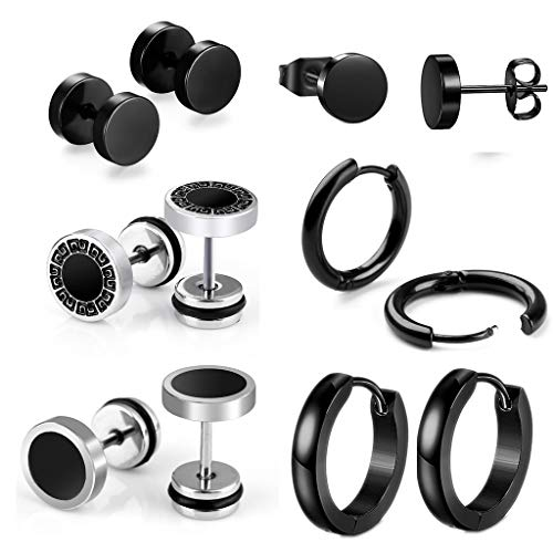 Leaptech 6 Paare Edelstahl Herren Ohrstecker Creolen Tunnel Ohrringe für Damen Fakeplug Fake Plug Ohrringe Edelstahl Herren Pierced Earrings Schwarz A2