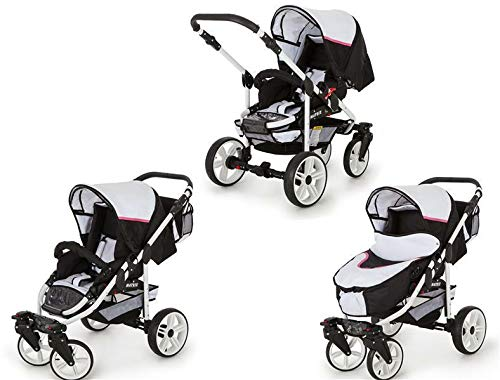 SaintBaby Stroller Pram Pushchair 2in1 3in1 Set All in one Baby seat Buggy X-Move GO White & Pink 3in1 with Baby seat SaintBaby 3in1 or 2in1 Selectable. At 3in1 you will also receive the car seat (baby seat). Of course you get the baby tub (classic pram) as well as the buggy attachment (sports seat) no matter if 2in1 or 3in1. The car naturally complies with the EU safety standard EN1888. During production and before shipment, each wagon is carefully inspected so that you can be sure you have one of the best wagons. Saintbaby stands for all-in-one carefree packages, so you will also receive a diaper bag in the same colour as the car as well as rain and insect protection free of charge. With all the colours of this pram you will find the pram of your dreams. 2