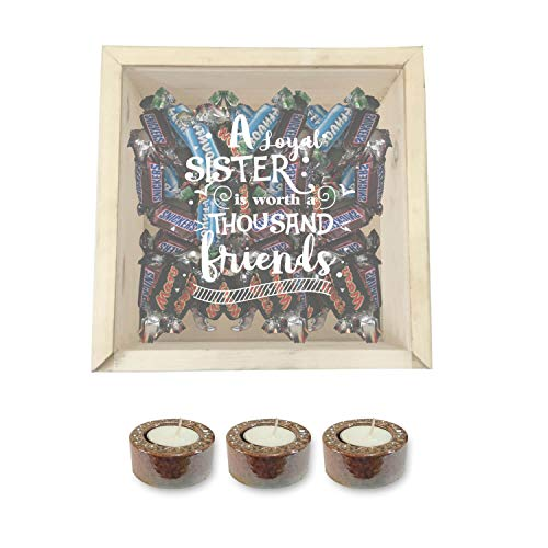 YaYa Cafe™ Diwali Gifts for Sister Chocolate Gift Hampers Friend Sister with 3 Glazed Metallic Candles Diyas Engraved Wooden Gift Box - Mars Snickers Bounty Candies
