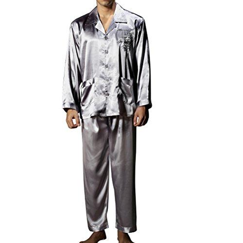 Amybria Hommes Haute Qualité Soie Pyjamas Set Gris Taille L/40