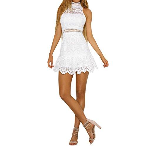 Ansenesna Vestido Fiesta Mujer Corto Largo Mini Vestidos Sin Espalda De Verano Noche Playa Tirantes (Blanco, S)