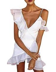 Discoteca Estilo De Las Mujeres De La Colmena Irregular Blanco Vestido De Tirantes Mujer V Cuello Sin Mangas Sexy Mini Vestidos