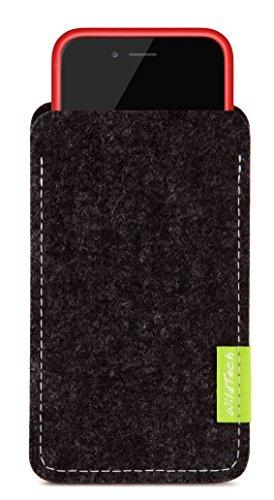 WildTech Sleeve für Apple iPhone XS/X geeignet für Apple Leder Case/TPU Silikon Case (extra breit) Hülle Tasche aus echtem Wollfilz (Handmade in Germany) - Anthrazit