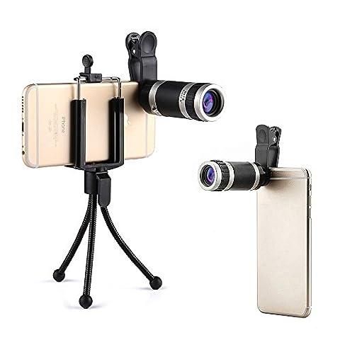 Kit Objectif Téléphone Universel Lentille de Caméra Lens Téléobjectif Zoom Lentille Optique Mini Monoculaire 8X18 pour Apple iPhone 7 SE 6 6 Plus 5S 5C 4S, Samsung Galaxy S7 S6 S5 S4 S3 Note 4 3 2, Huawei P8 P9,Blackberry, Sony Xperia avec Mini Trépied