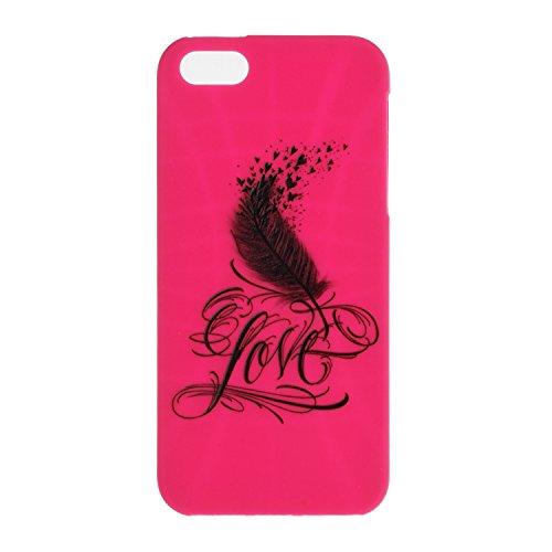 Voguecase® für Apple iPhone SE 5 5S 5G hülle, Schutzhülle / Case / Cover / Hülle / TPU Gel Skin (Gelb/Lila Traumfänger) + Gratis Universal Eingabestift Rosa/Love Feder 01