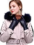 YISEVEN Damen Touchscreen Lammfelll Lederhandschuhe mit Warm Wolle Gefüttert Winter Nappa Leder Autofahrer Handschuhe, Navy blau Groß/7.5
