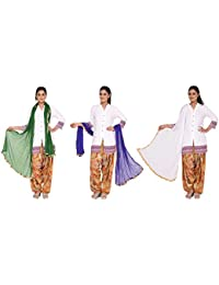 Nikita Women's Synthetic Chiffon Dupattas(Dark Green,Purple,White Colors) Pack Of 3 Combo