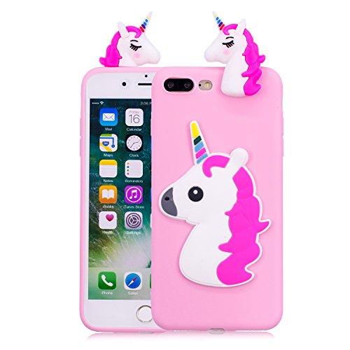 Funluna Funda iPhone 8 Plus/iPhone 7 Plus, 3D Unicornio Silicona Dibujo Animado Suave Case Cover Protección Cáscara Soft Gel TPU Carcasa para iPhone 8 Plus/iPhone 7 Plus, Rose