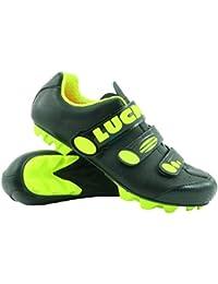 LUCK Zapatillas de Ciclismo Matrix Revolution MTB, con una estupenda Suela de Carbono Muy Ligera y rígida y Triple Velcro para un Ajuste (42 EU, Amarillo)