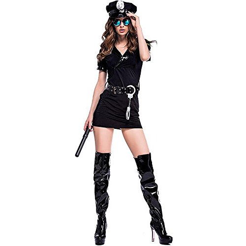 (BOZEVON Spaß Polizei Cosplay Spiel Damen Fancy Dress Cop Officer Uniform für Frauen Kostüm Outfit und Halloween Party Cosplay Paar Kostüme)