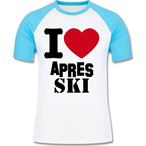 Après Ski - I Love Apres Ski - zweifarbiges Baseballshirt für Männer Weiß/Türkis