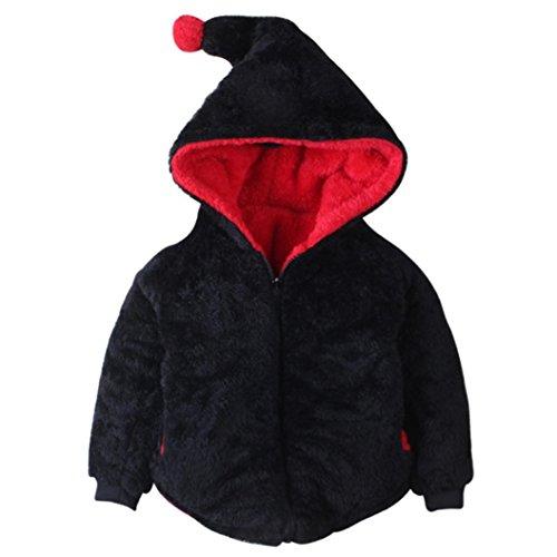 VENMO Boy Girl Jacke Warmer Herbst Winter Plüsch-Zip-Mantel niedlicher Hut Pullover Niedlich Baby Mit Kapuze Mantel Jacke Dick Warm Kleider übergangsjacke Wolljacke Strickpullover (Size:3T, Black) (3t-jungen Blazer)