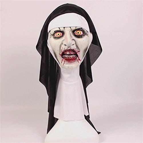 Liangliang Nonne Maske Halloween Horror Makeup Maske Schlaue Grimassierende Gruselige Latex Mit Kapuze Nonne