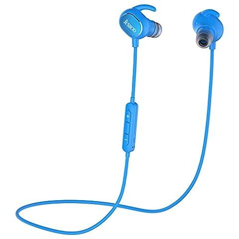 JESBOD QY19 Bluetooth Kopfhörer 4.1 Wireless Sport Headset Stereo Ohrhörer Schweißfänger In-Ear Earbuds mit Mikrofon / Apt-X für iOS und Android Handys iPad Laptops Tablets (Blau)