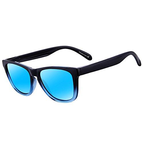 X-CRUZE® 9-048 X0 Nerd Sonnenbrillen polarisiert Style Stil Retro Vintage Retro Unisex Herren Damen Männer Frauen Brille Nerdbrille - transparent matt / hellblau verspiegelt TsAyL5
