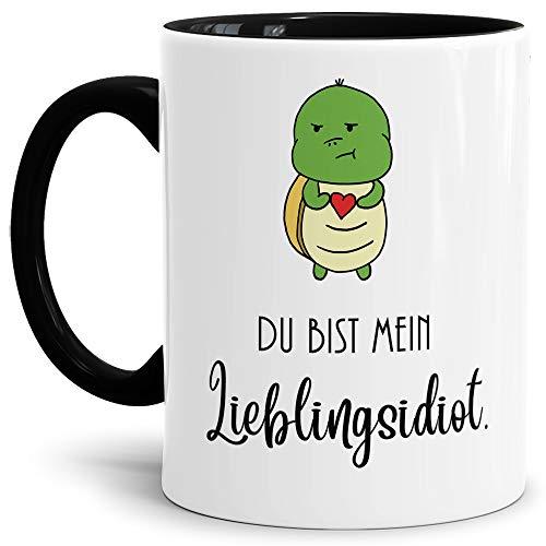 Tassendruck Schildi-Tasse mit Spruch Du bist Mein Lieblingsidiot/Liebe/Paar/Kaffeetasse/Schildkröte/Lustig/Innen & Henkel Schwarz