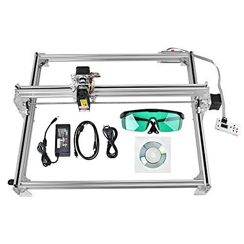 ETE ETMATE DIY CNC Machine, 2 Axis Carving Machine DIY Kit, DIY CNC Laser Engraver Kits 12V USB Desktop Laser Grabadora con gafas protectoras Área de trabajo 65 * 50cm 2500MW