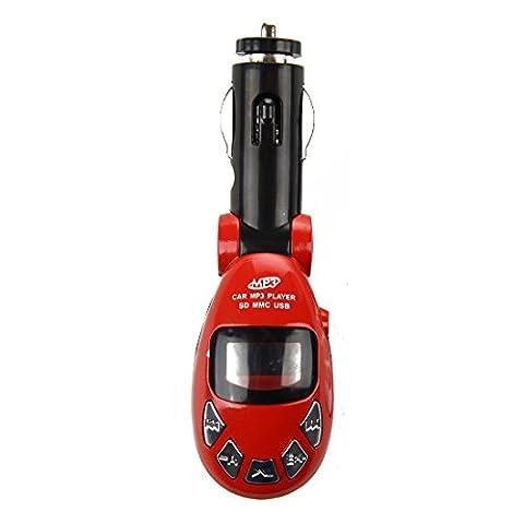 TOOGOO(R) Sans Fil USB FM Transmetteur Voiture Auto MP3 Player Lecteur SD MMC Telecommande rouge