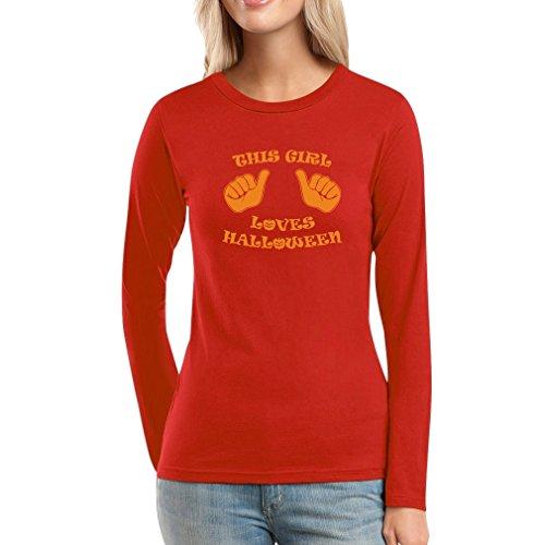 This Girl Love Halloween - Ich Liebe Halloween Frauen Langarm-T-Shirt Rot