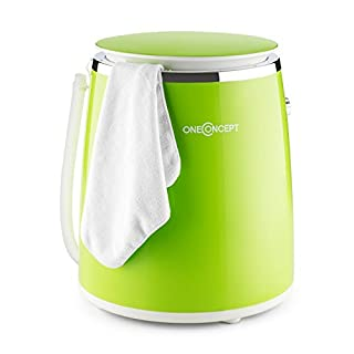 OneConcept Ecowash-Pico Mini Washing Machine • Spin Cycle Function • 3.5 kg • 380 W • Single and Student Households • Garden House Owners • Adjustable Timer • Waterproof IPX4 • Green