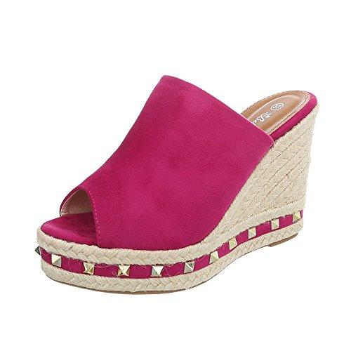 Ital-Design Pantoletten Damen-Schuhe Keilabsatz/Wedge Keilabsatz Sandalen & Sandaletten Pink, Gr 40, 7703-