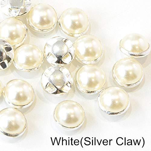 Penveat 100 pezzi colorati pearl beads cucitura per cucire strass con argento/oro claw natator mezzotondo pearl per le navi abbigliamento b3120, bianco argento branca 8 mm - 100pcs