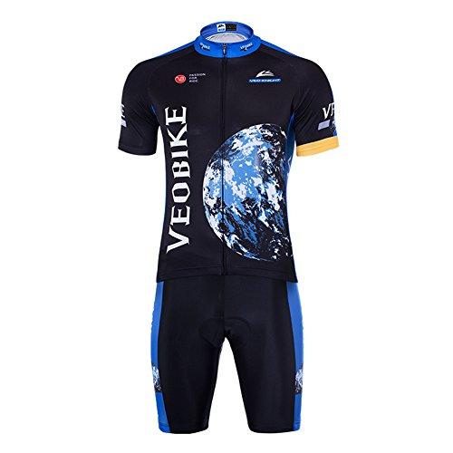 Veobike Herren Radtrikot Herren Fahrrad Jersey Kurzarm Fahrradtrikot Atmungsaktive Quick Dry Männer Trikot (Schwarz, 3XL: (EU XL))