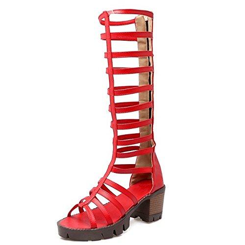 TAOFFEN Femmes Gladiateur Peep Toe Bottilons Sandales Classique Bloc Talons Moyen Fermeture Eclair Chaussures Rouge