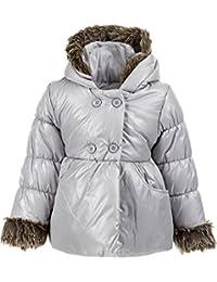 Minoti Designer Baby & Toddler Girls Quilted Shimmer Puffa Coat with Hood & Fur Trim