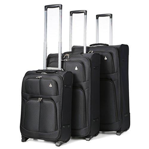 Aerolite Leichtgewicht 2 Rollen Trolley Koffer Kofferset Gepäck-Set Reisekoffer Rollkoffer Gepäck, 3 Teilig , Schwarz