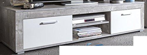 6.6.7.2945: made in BRD – Serie AWBW – Lowboard – weiss-grau gescheckt dekor – 2 Klappen – 2 Fächer – TV-Schrank