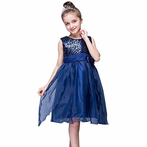 Kleider Kinderbekleidung Honestyi Kleinkind Baby Mädchen Bling Pailletten Sleeveless Tutu Prinzessin Kleid Outfits Kleidung (DunkeBlau,110)