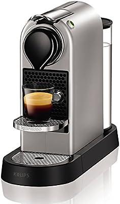 Krups Nespresso Citiz Flow XN740B - Cafetera monodosis de 19 bares, 2 programas de café personalizables, bandeja extraíble y autoapagado, color titán