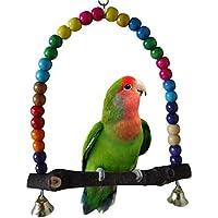 Mioloe Madera Swing Loro Jaula Juguetes pájaro Juguete Pinzón Periquito Cockatiel Agapornis Rainbow Bridge