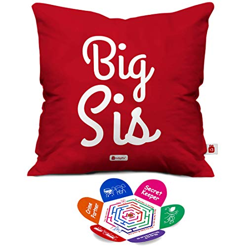 Indigifts Rakhi Gift For Sister Big Sis Quote Magenta Cushion Cover 12x12 Inches With Filler
