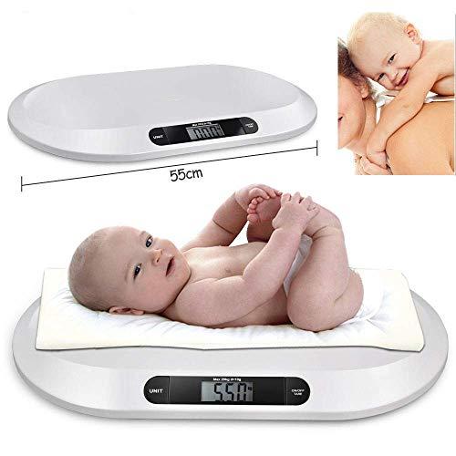 Balanza digital para bebés   Báscula electrónica digital para bebés LCD, Balanza para mascotas 20KG / 44LBS   Báscula infantil, peso del bebé (Kg/Lbs/St)